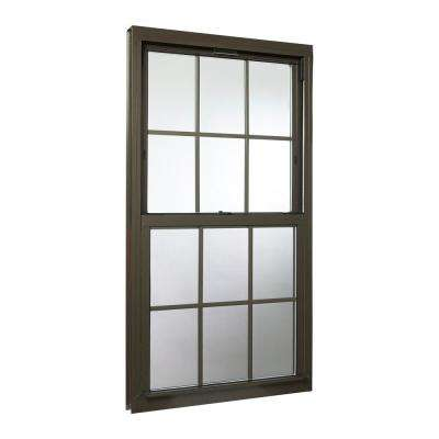 32 in. x 60 in. Double Hung Aluminum Window with Low-E Glass, Grids and Screen, Brown