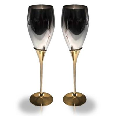 2-Tone 10.25 in. H, 2.25 in. Dia. Tulip Fluted Goblets (Set of 2)