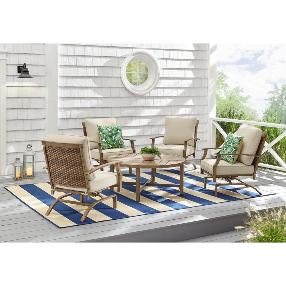 Hampton Bay Geneva 5-Piece Woven Outdoor Patio Conversation Deep Seating Set with Oatmeal Cushions was $799.0 now $639.2 (20.0% off)