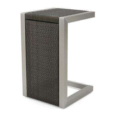Valentina Grey Wicker C-Shaped Outdoor Side Table