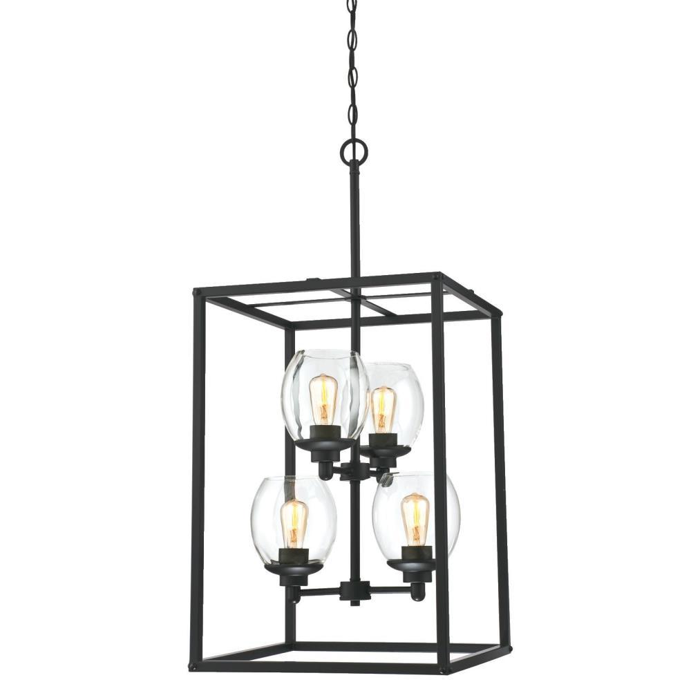 westinghouse ardleigh 4 light matte black chandelier with clear glass shades 6328000 the home. Black Bedroom Furniture Sets. Home Design Ideas