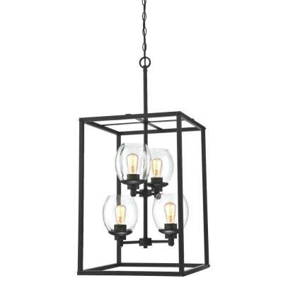 Ardleigh 4-Light Matte Black Chandelier with Clear Glass Shades