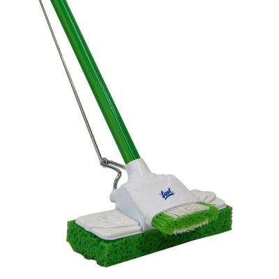 Sponge Mop with Pivoting Scrub Brush