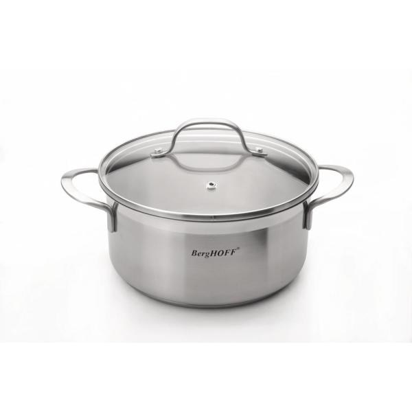 BergHOFF Bistro 2.7 Qt. Stainless Steel Casserole Dish with Glass Lid