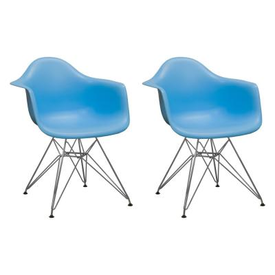 Paris Tower Blue Dining Arm Chair with Chrome Legs (Set of 2)