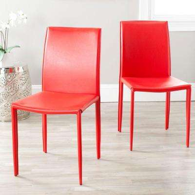 Karna Red Bonded Leather Dining Chair