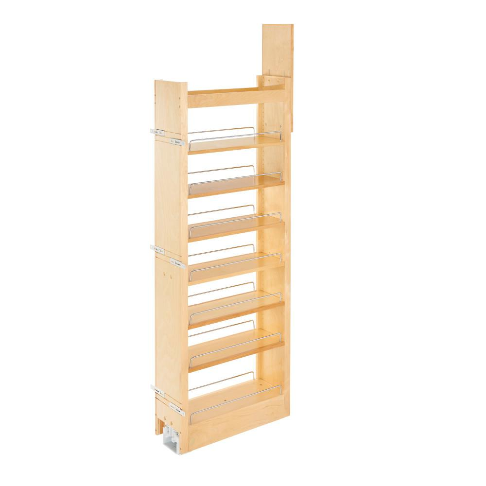 Rev A Shelf 59 25 In H X 5 In W X 22 In D Pull Out Wood Tall Cabinet Pantry 448 Tp58 5 1 The Home Depot