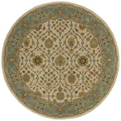 Tara Palma Ivory 7 ft. 9 in. x 7 ft. 9 in. Round Area Rug