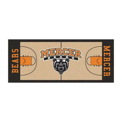 NCAA - Mercer University Tan 3 ft. x 6 ft. Indoor Basketball Court Runner Rug