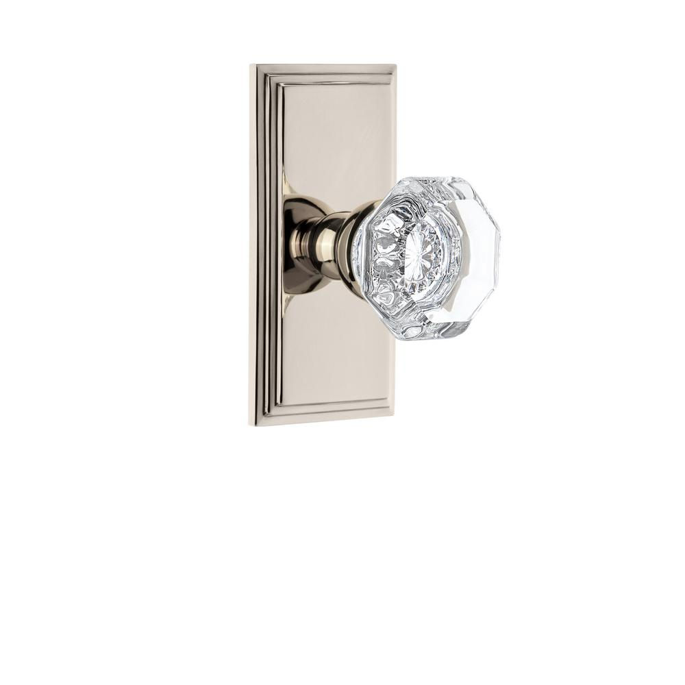 Top-of-the-Line Brushed Nickel & Fluted Crystal Glass  Privacy KNOB SET Architectural & Garden Doors