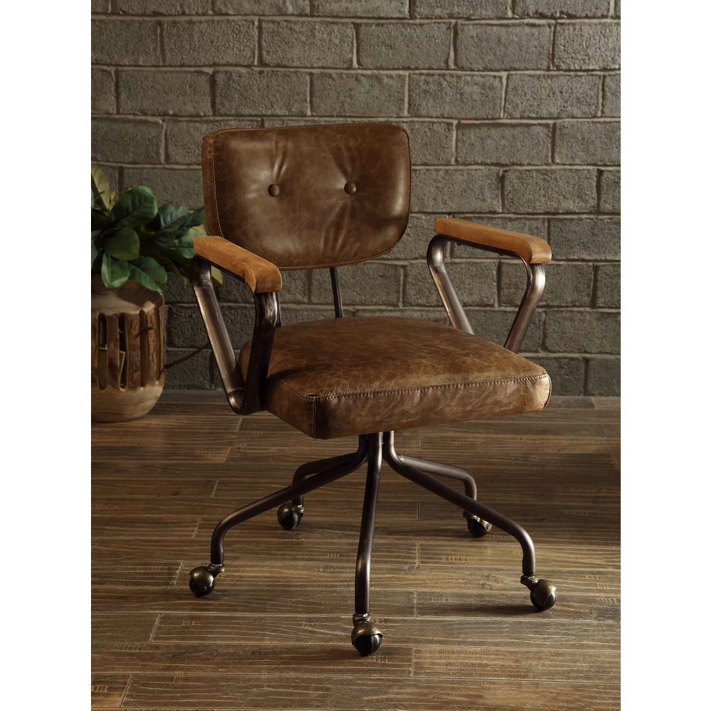 acme furniture hallie top grain leather office chair in vintage whiskey