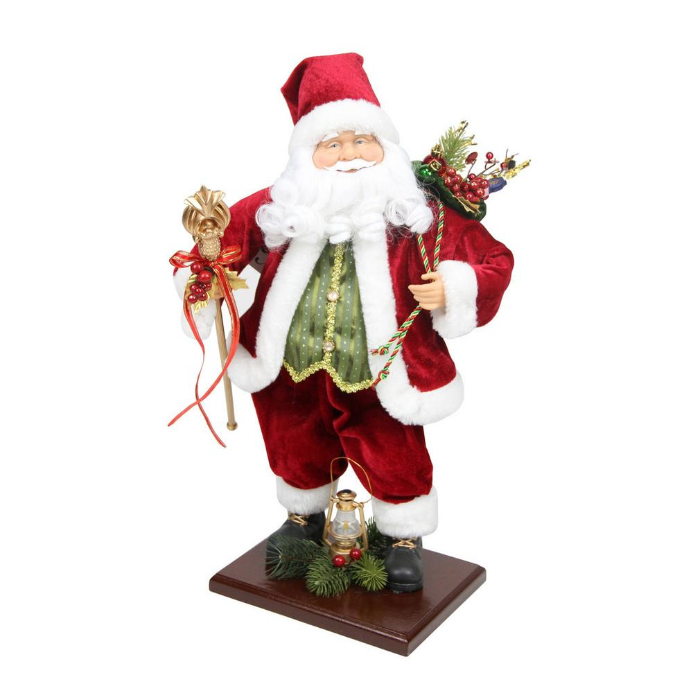 18 in. Santa Claus with Gift Bag and Staff Christmas Tabletop ...