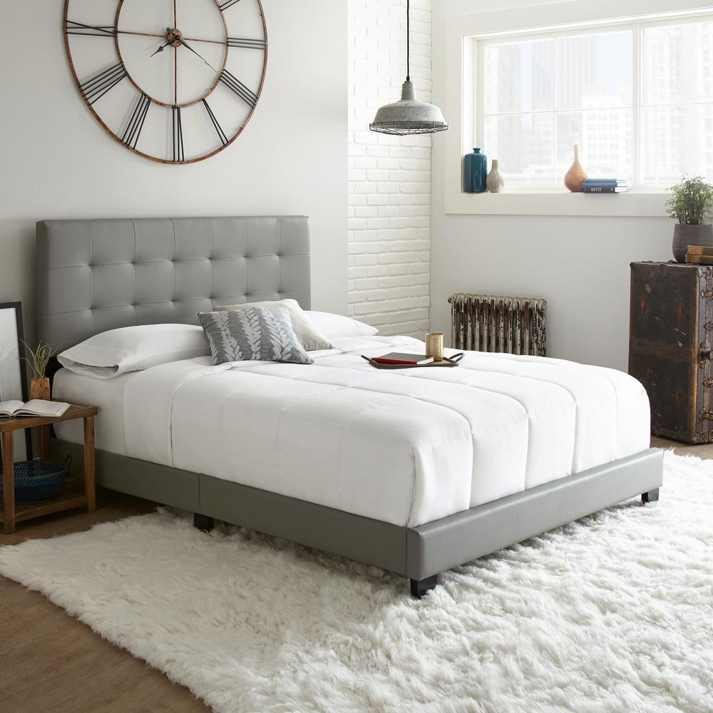 Channing Gray Queen Tufted Upholstered Platform Bed