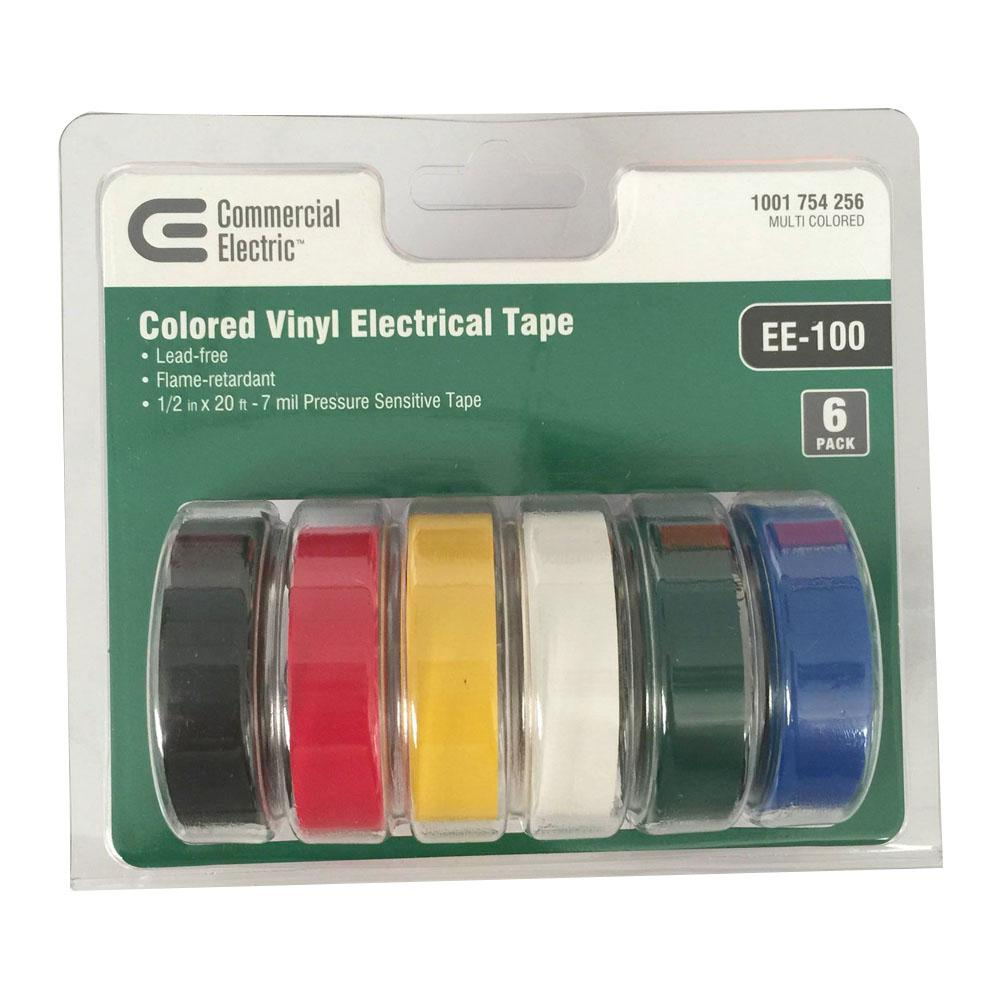 commercial electric 1 2 in x 20 ft electric tape multi color 6