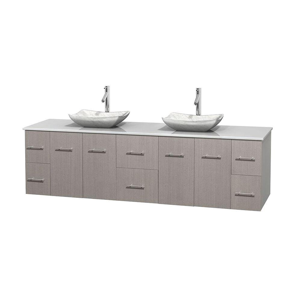 Surface Salle De Bain wyndham collection centra 80 in. double vanity in gray oak with  solid-surface vanity top in white and sinks