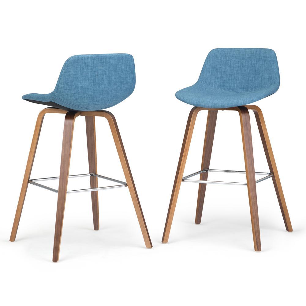 Randolph 36.6 in. Medium Blue Linen Look Fabric Mid Century Modern Bentwood Counter Height Stool (Set of 2)