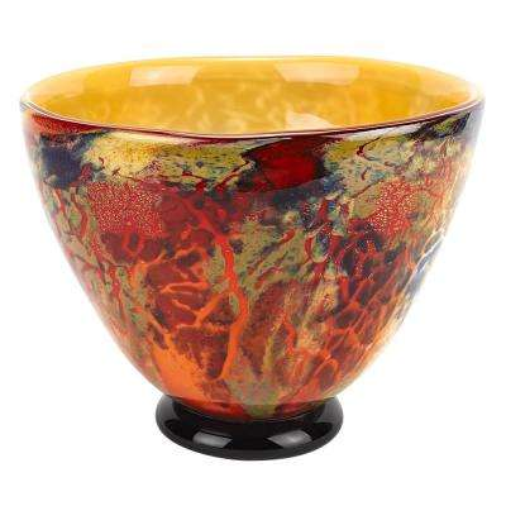 Firestorm Murano Style Multi-Color Art Glass Bowl