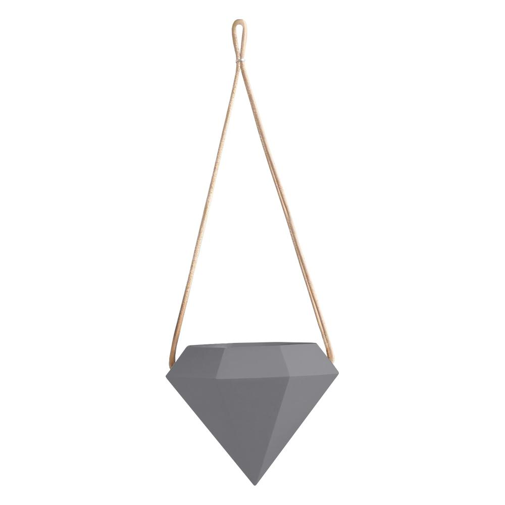 Diamond 4-1/2 in. x 4-1/2 in. Dark Gray Ceramic Hanging Planter