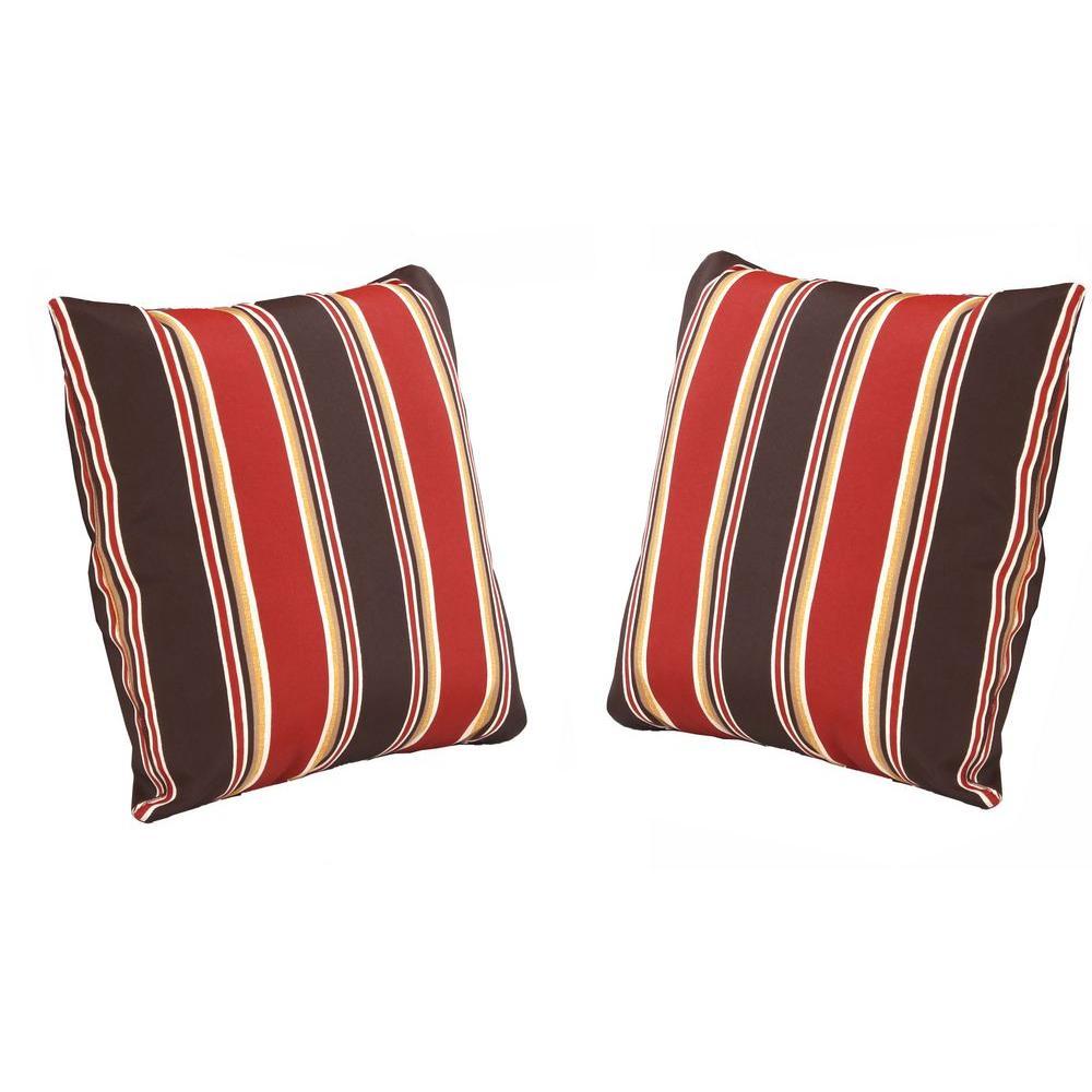 Hampton Bay Beverly Beige Outdoor Throw Pillow (2-Pack)