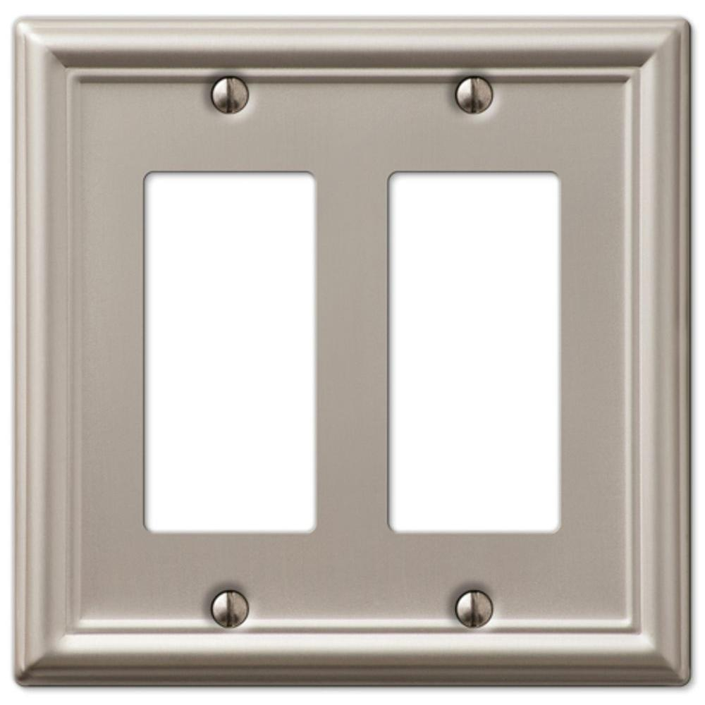 Amerelle Chelsea 2 Decorator Wall Plate - Brushed Nickel-DISCONTINUED