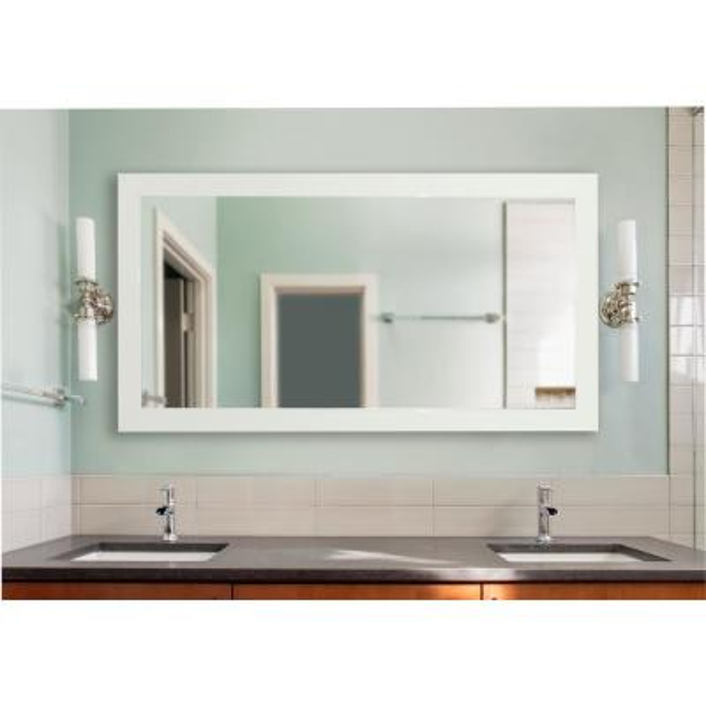 64 in. x 35 in. Delta White Double Vanity Mirror