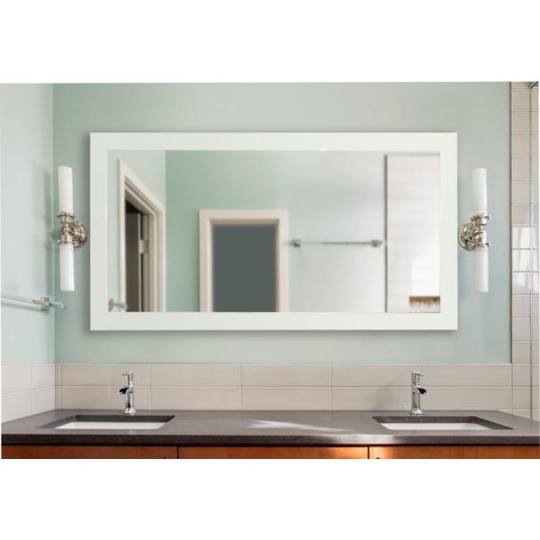 undefined 64 in. x 35 in. Delta White Double Vanity Mirror