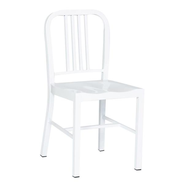 Industrial White Metal Indoor Dining Chair (Set of 2)