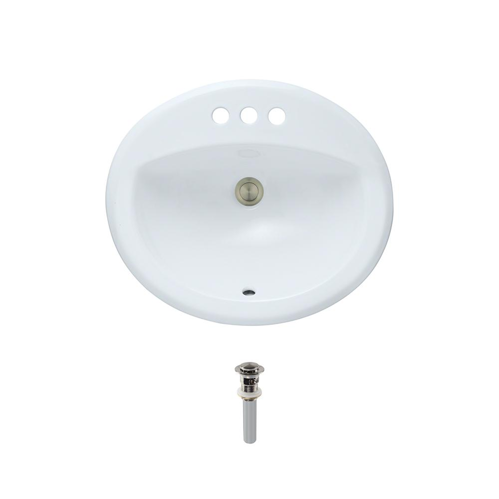 Overmount Porcelain Bathroom Sink in White with Pop-Up Drain in Brushed