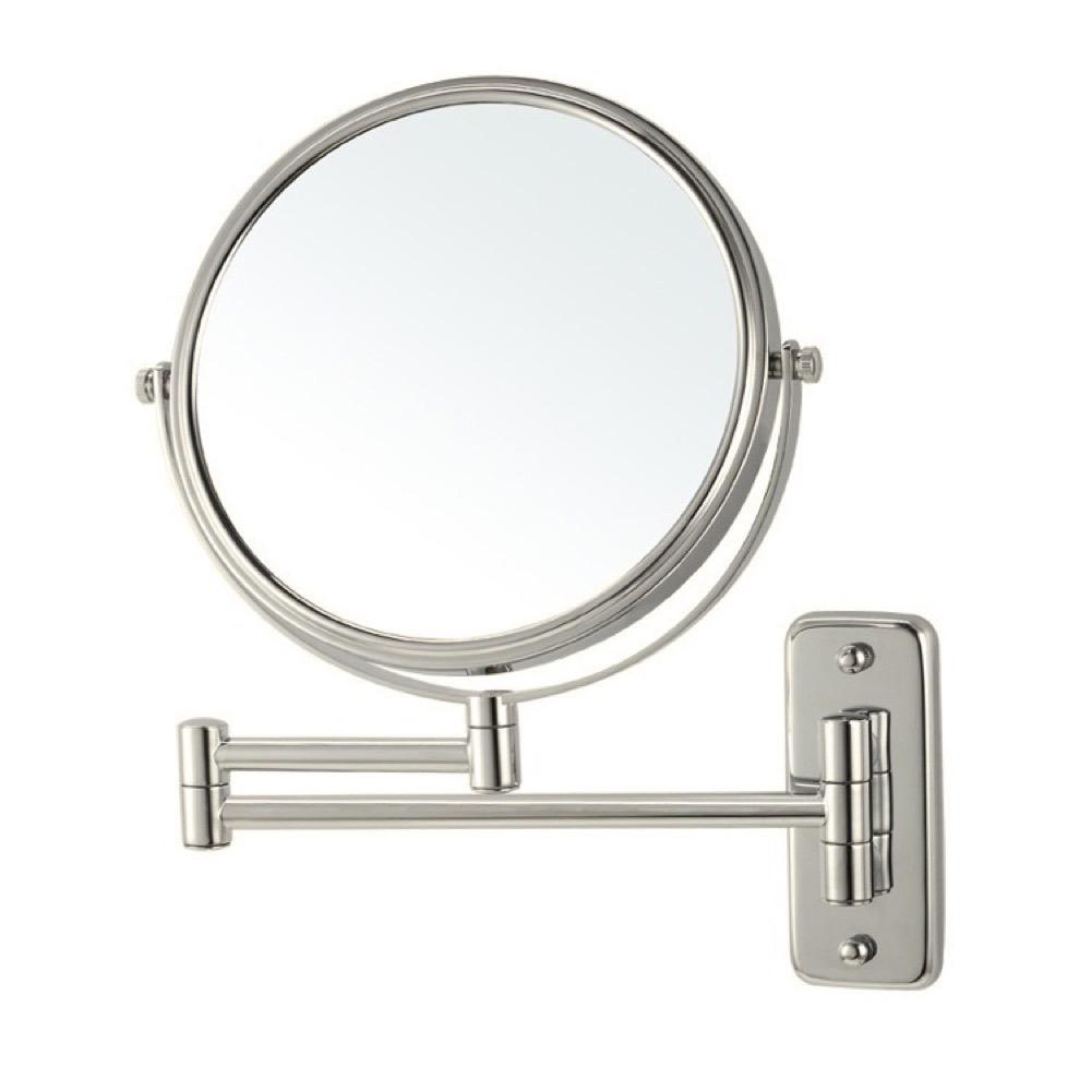 Nameeks Glimmer 8 in. x 8 in. Wall Mounted 3x Round Makeup Mirror in Satin Nickel Finish