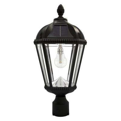 Royal Bulb Series Single Black Integrated Led Solar Post Light with 3 in. Fitter and GS Solar LED Light Bulb