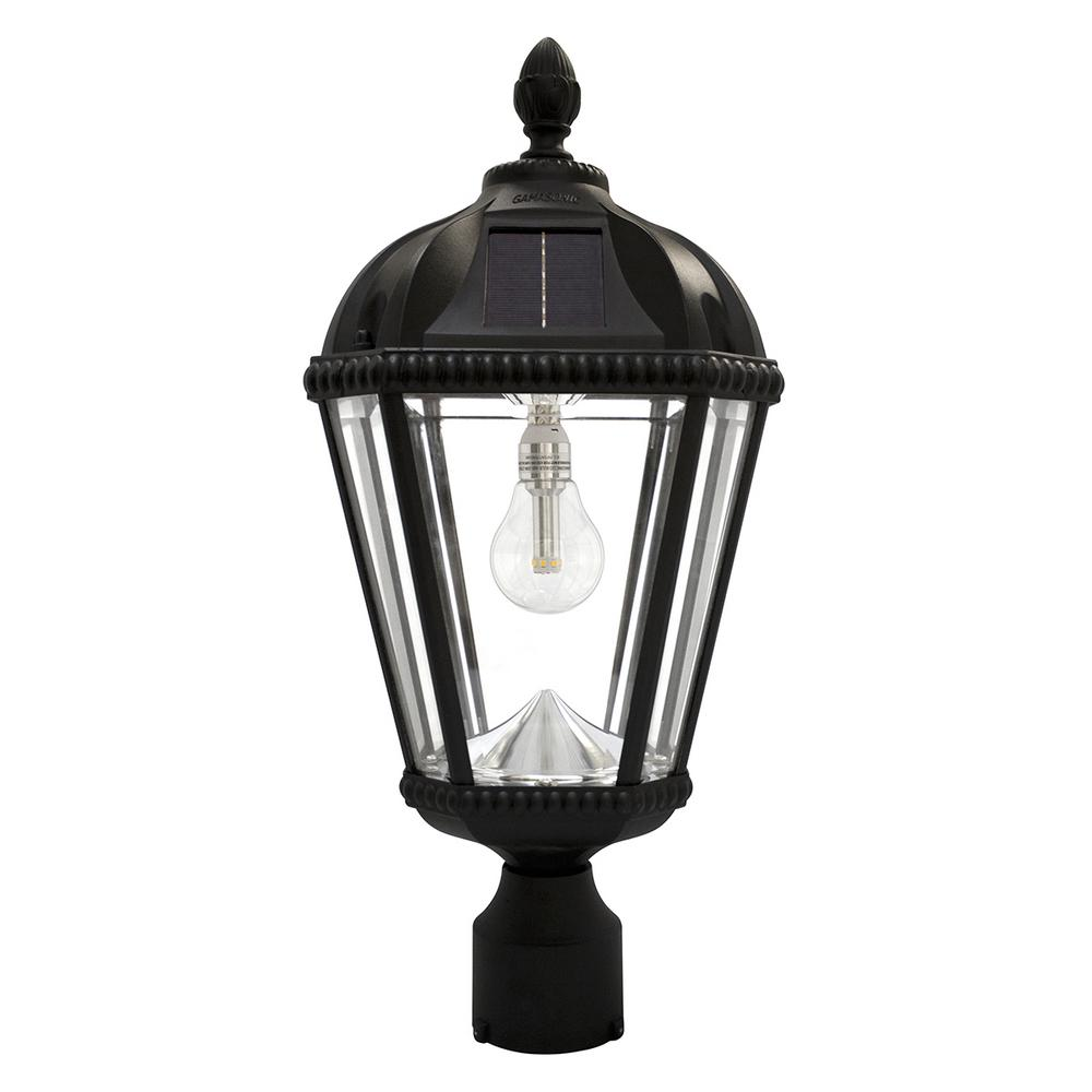 Royal Bulb Series Single Black Integrated Led Solar Post Light with