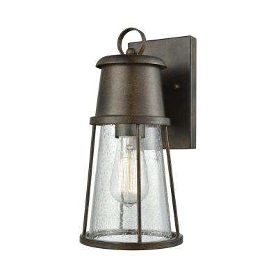 Crowley Small 1 Light Hazelnut Bronze With Clear Seedy Glass Outdoor Wall Mount Sconce