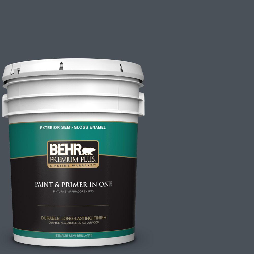 BEHR Premium Plus 5-gal. #T15-2 Seared Gray Semi-Gloss Enamel Exterior Paint