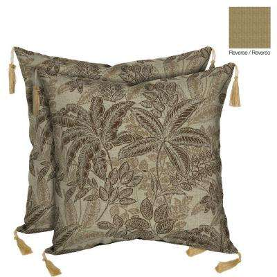 Palmetto Mocha Reversible Square Toss Outdoor Cushion Pillow with Tassels (2-Pack)