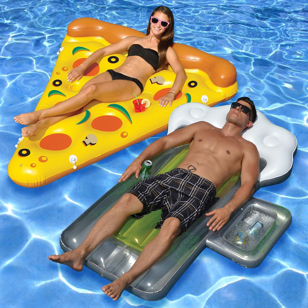 Swimline Pizza Slice and Beer Mug Swimming Pool Float Combo (2-Pack ...