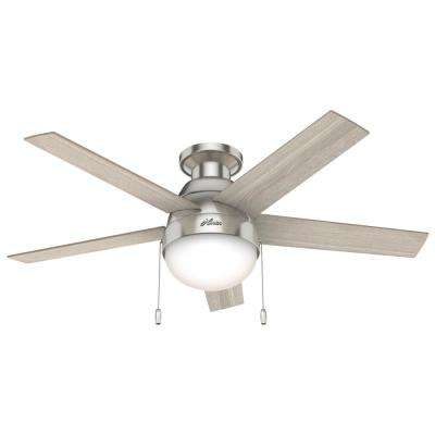 Anslee 46 in. Indoor Low Profile Brushed Nickel Ceiling Fan with Light