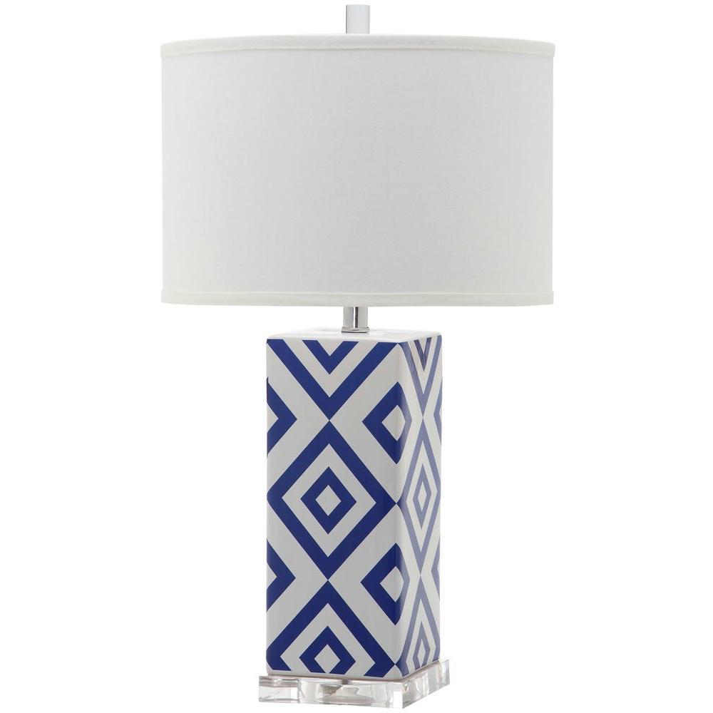 Diamonds 27 in. Navy Diamond Ceramic Table Lamp with White Shade