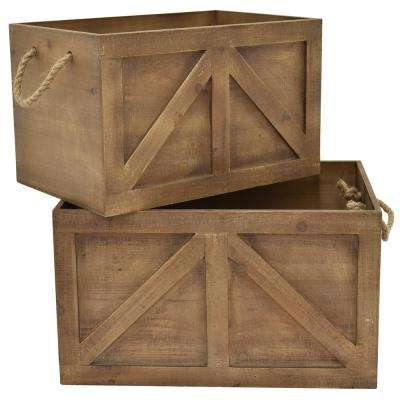 18.75 in. x 11 in. Wood Storage Basket (Set of 2)