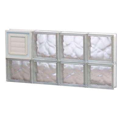 31 in. x 13.5 in. x 3.125 in. Frameless Wave Pattern Glass Block Window with Dryer Vent