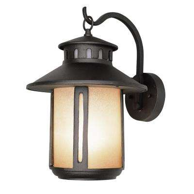 1-Light Black Outdoor Wall Mount Lantern with Frosted Glass