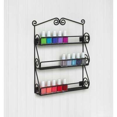 Scroll Wall Mount Nail Polish Holder in Black