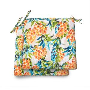 20 in. x 19 in. x 3.5 in. Pineapples Rectangular Square Outdoor Seat Cushion (2 Pack)