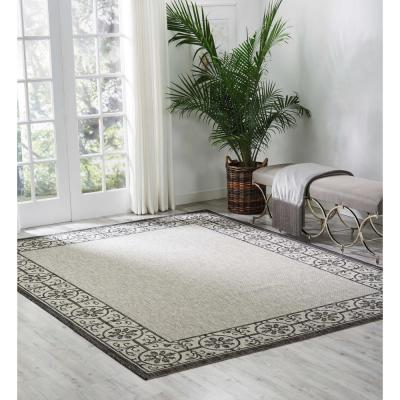 Garden Party Ivory/Charcoal 10 ft. x 13 ft. Oriental Transitional Indoor/Outdoor Area Rug