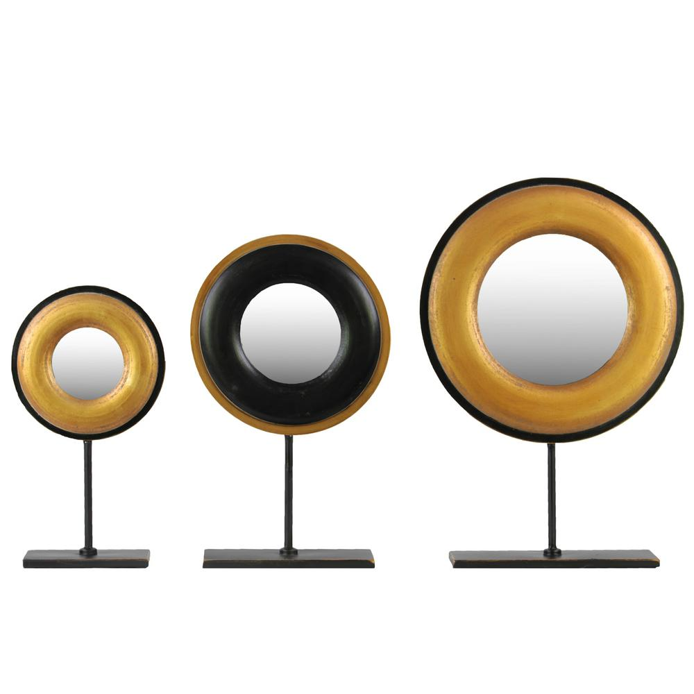18.75 in. H Abstract Decorative Sculpture in Gold Brushed Finish (Set