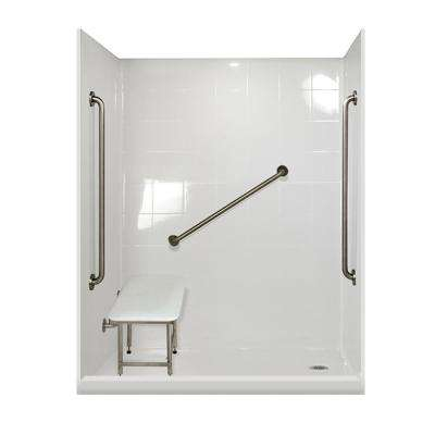 Plus 36 Package 60 in. x 33.375 in. x 79.5 in. 5-Piece Low Threshold Shower Stall in White, Right Drain