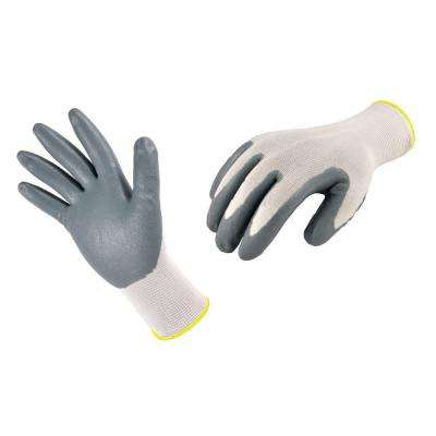 Seamless Knit Nylon Medium Grey Nitrile Coated Work Gloves (3-Pack)