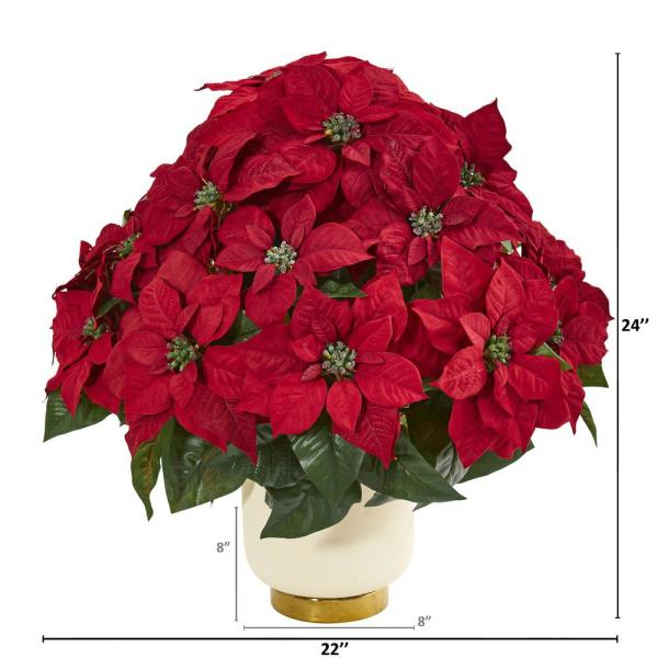 Nearly Natural Poinsettia Artificial Arrangement In White Bowl