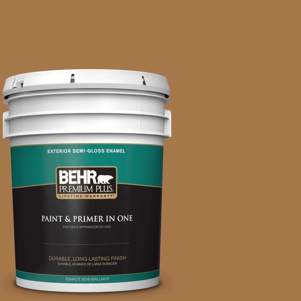 5 gal. #HDC-CL-18A Butter Caramel Semi-Gloss Enamel Exterior Paint
