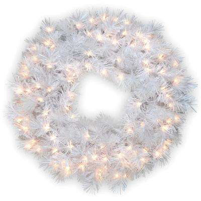 30 in. Wispy Willow Grande White Artificial Wreath with Clear Lights