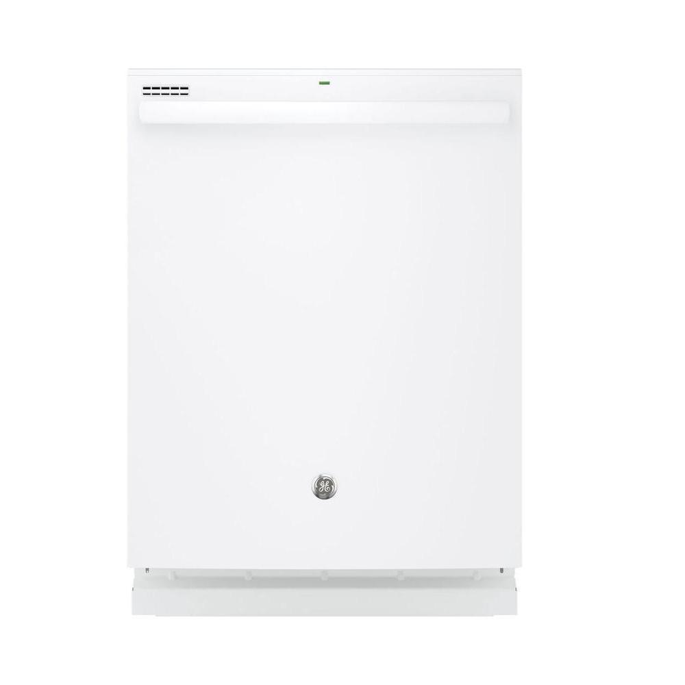 GE Top Control Dishwasher in White with Steam Prewash